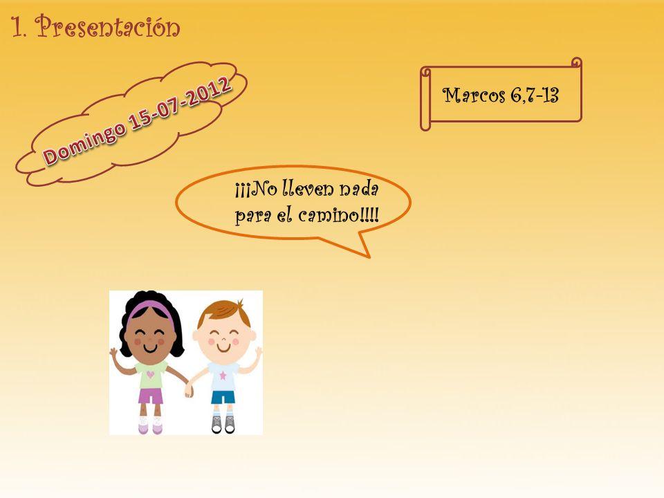 1. Presentación Marcos 6,7-13 Domingo 15-07-2012 ¡¡¡No lleven nada