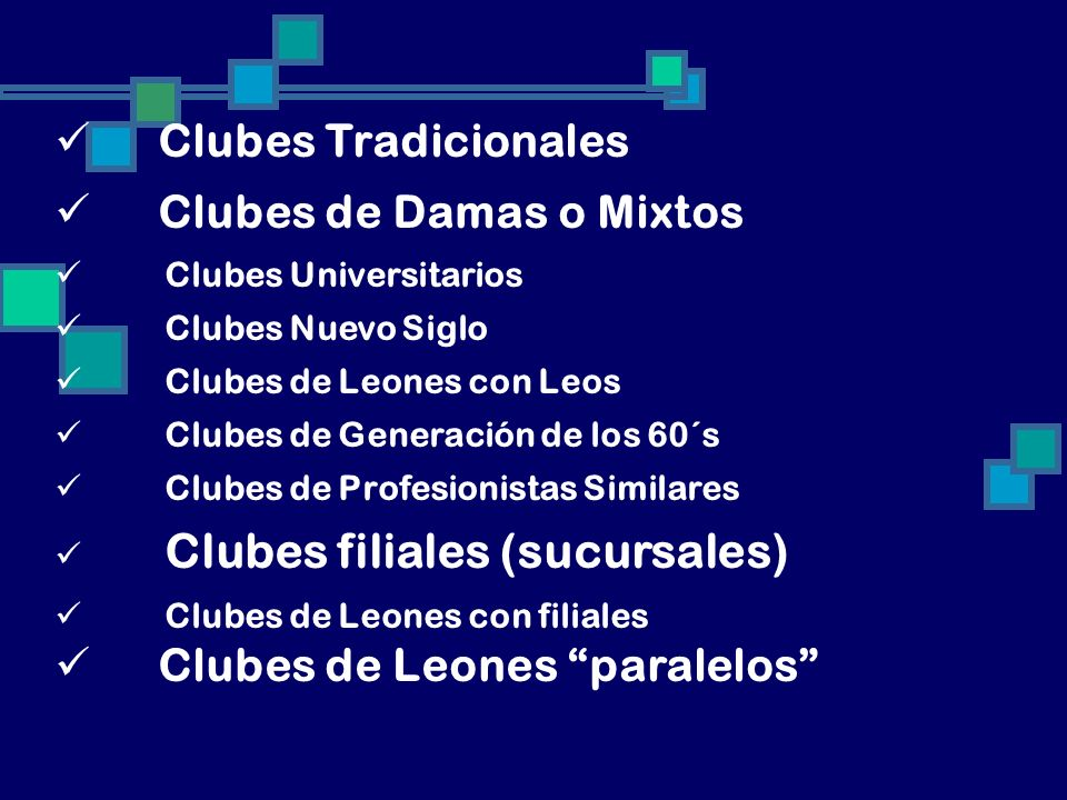 Clubes de Damas o Mixtos