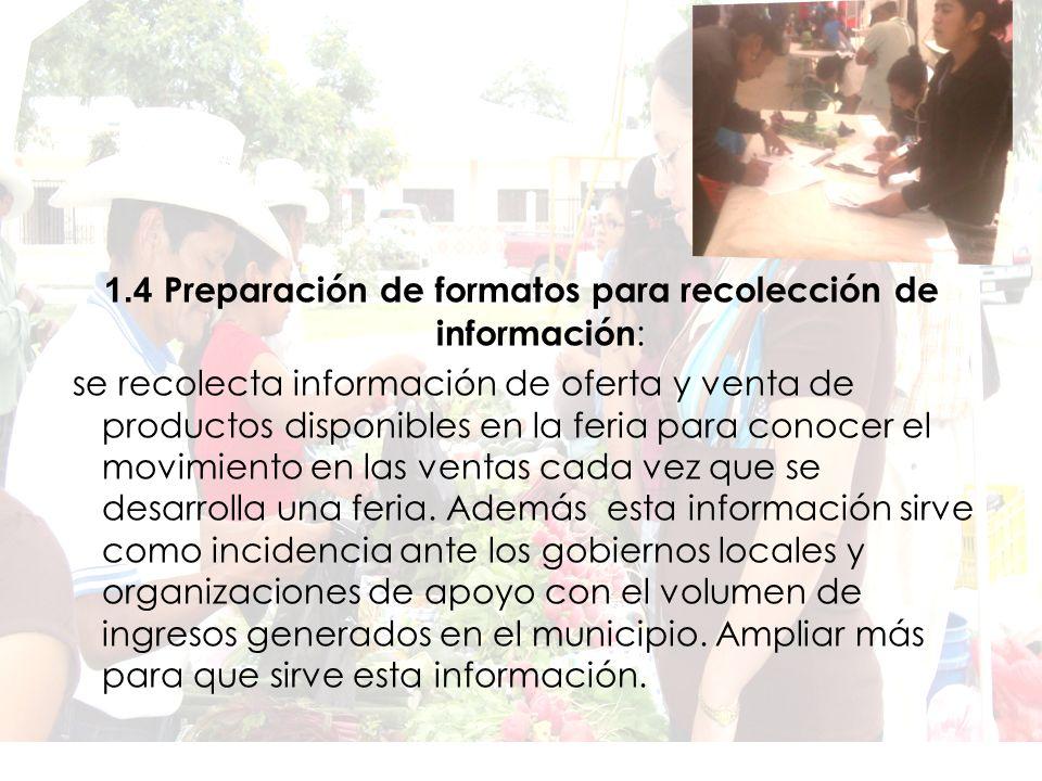 1.4 Preparación de formatos para recolección de información: se recolecta información de oferta y venta de productos disponibles en la feria para conocer el movimiento en las ventas cada vez que se desarrolla una feria.
