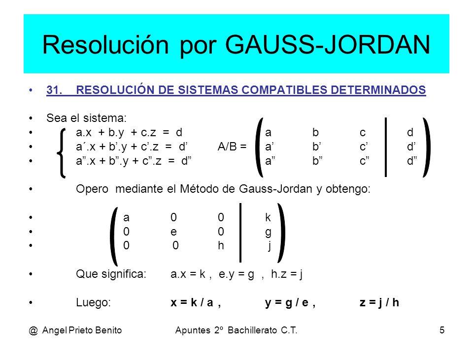 Resolución por GAUSS-JORDAN
