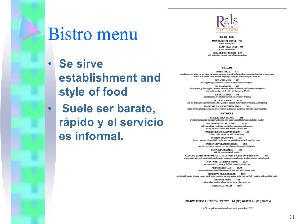 Bistro menu Se sirve establishment and style of food
