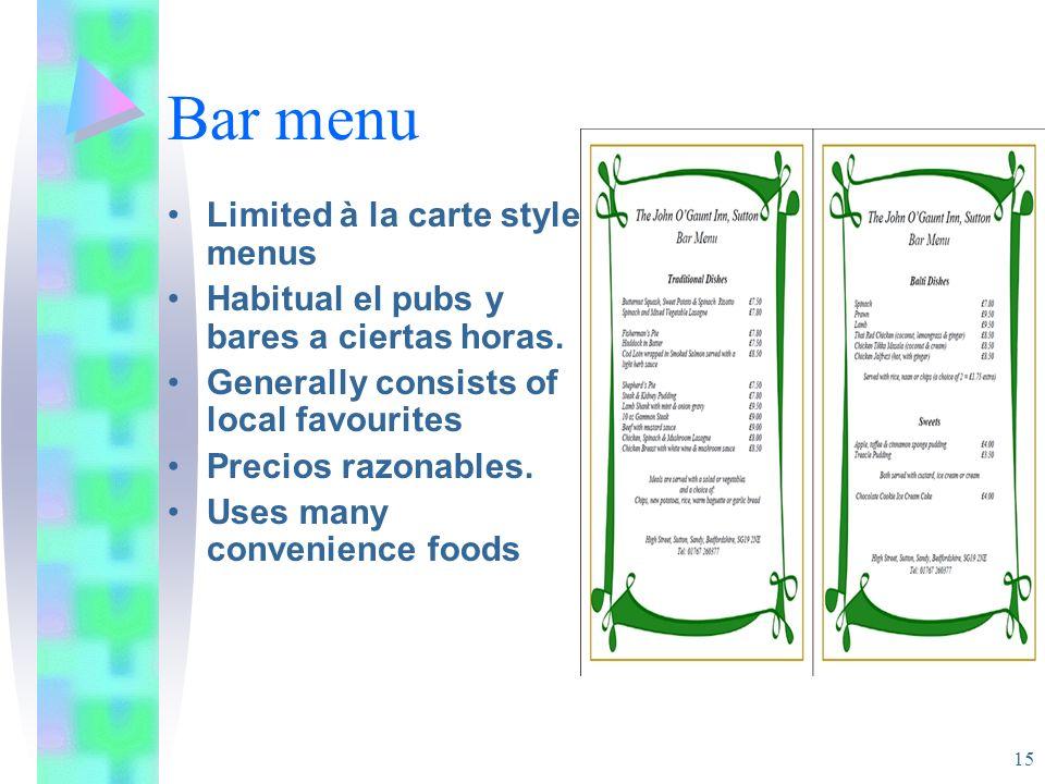 Bar menu Limited à la carte style menus