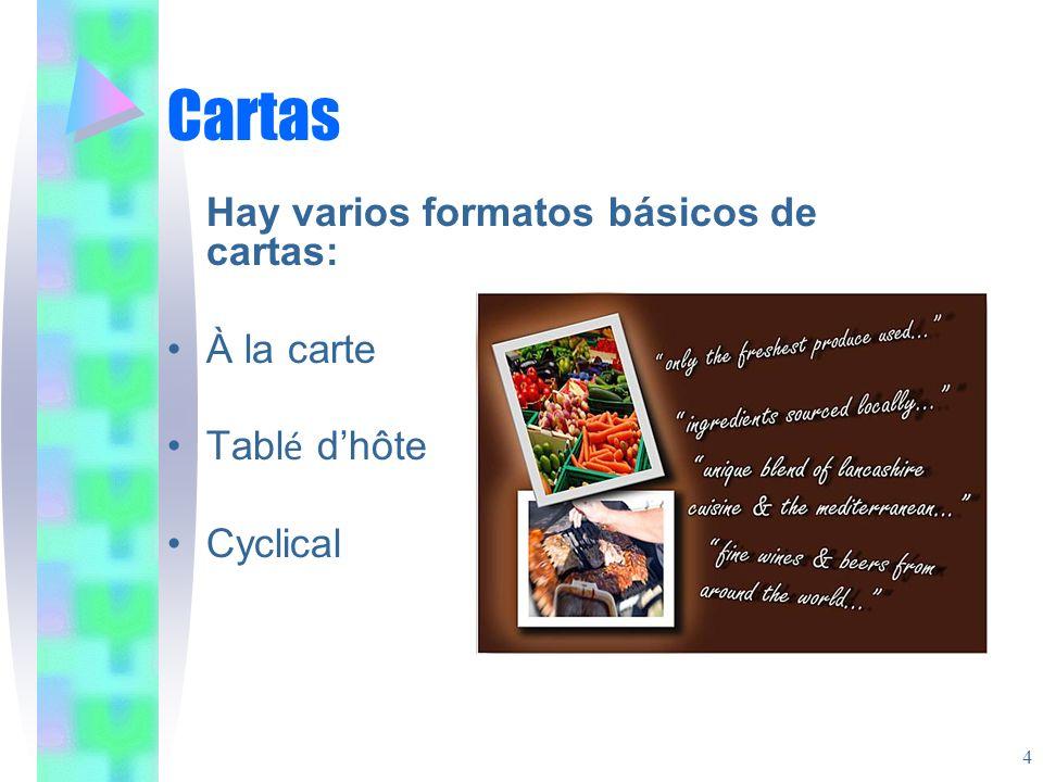 Cartas Hay varios formatos básicos de cartas: À la carte Tablé d'hôte