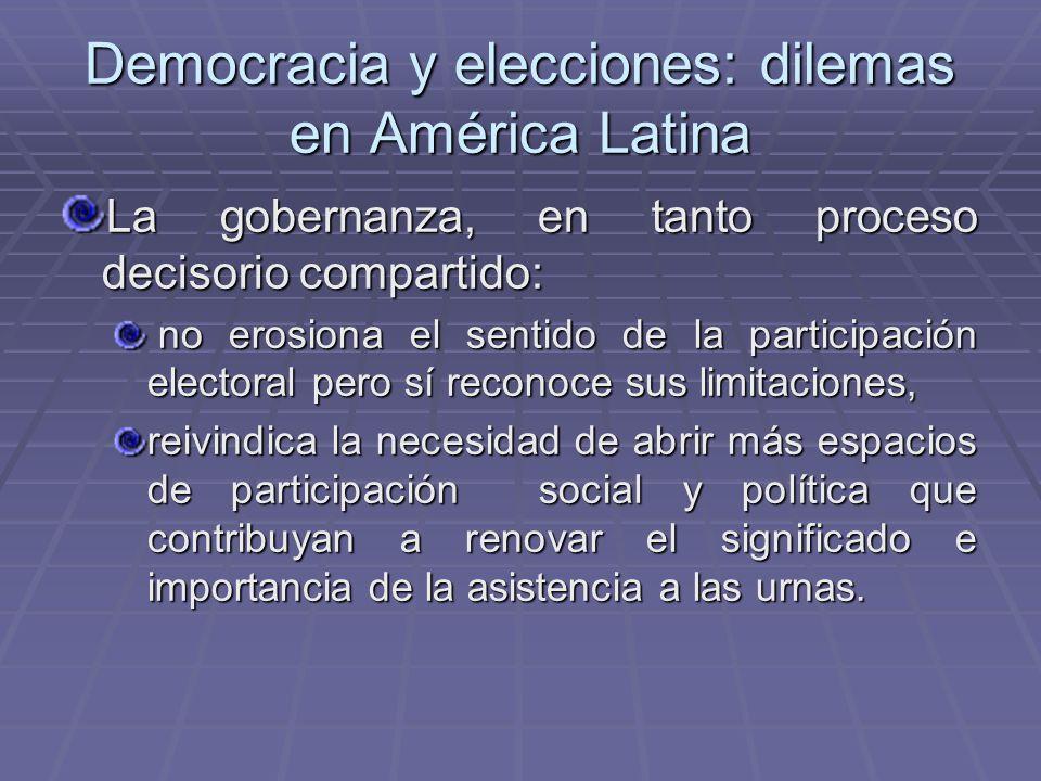 Democracia y elecciones: dilemas en América Latina