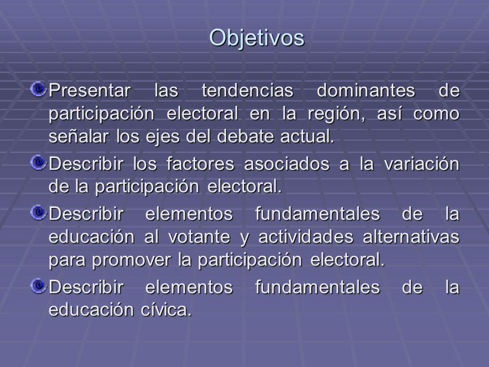 ObjetivosPresentar las tendencias dominantes de participación electoral en la región, así como señalar los ejes del debate actual.