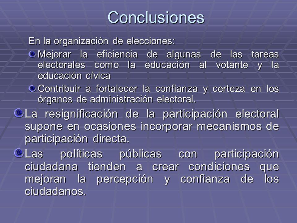 Conclusiones En la organización de elecciones: