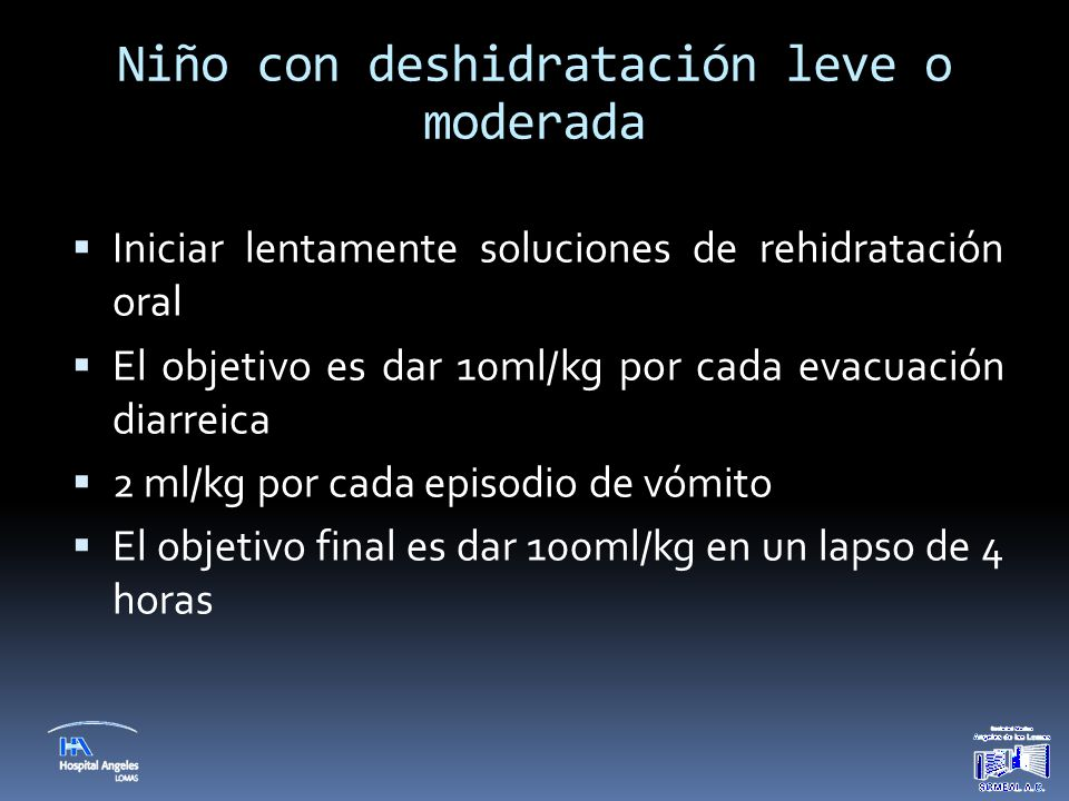 Niño con deshidratación leve o moderada