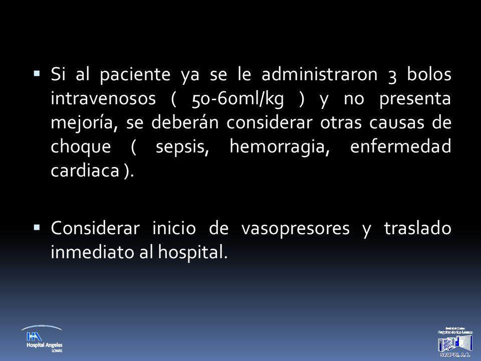 Si al paciente ya se le administraron 3 bolos intravenosos ( 50-60ml/kg ) y no presenta mejoría, se deberán considerar otras causas de choque ( sepsis, hemorragia, enfermedad cardiaca ).