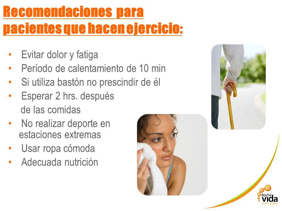 Recomendaciones para pacientes que hacen ejercicio: