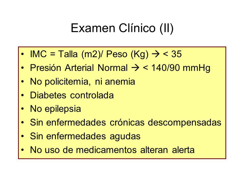 Examen Clínico (II) IMC = Talla (m2)/ Peso (Kg)  < 35