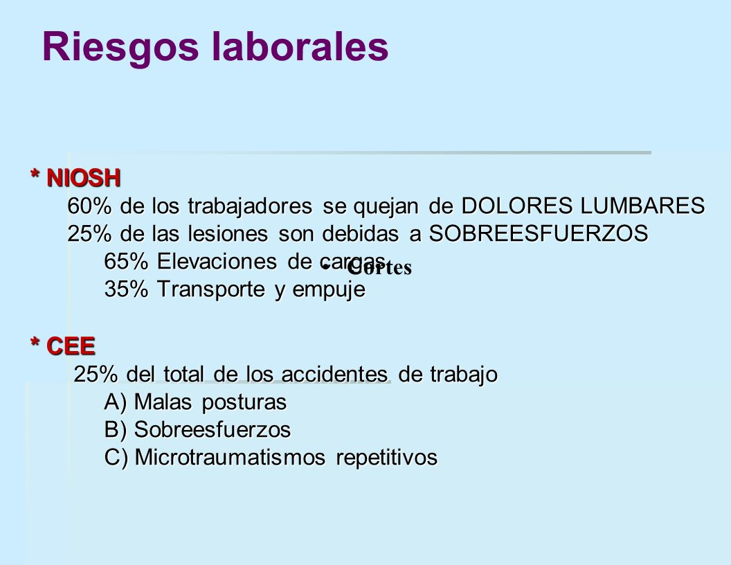 Riesgos laborales * NIOSH * CEE