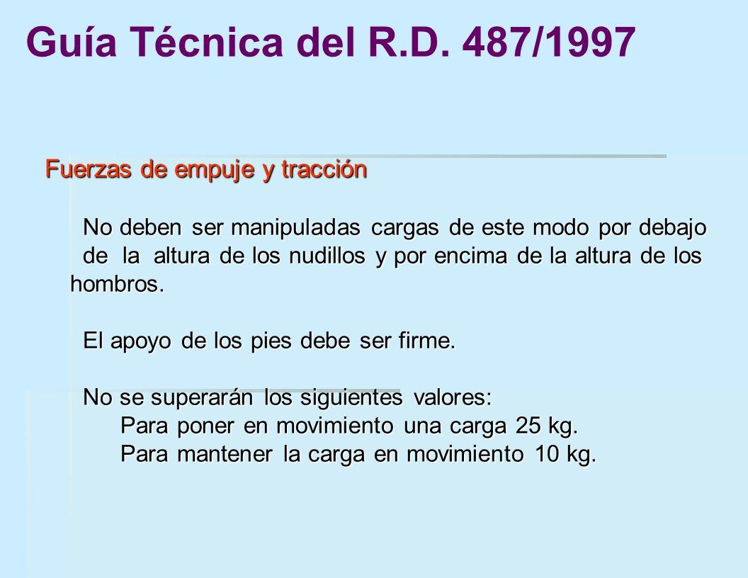 Guía Técnica del R.D. 487/1997 Fuerzas de empuje y tracción