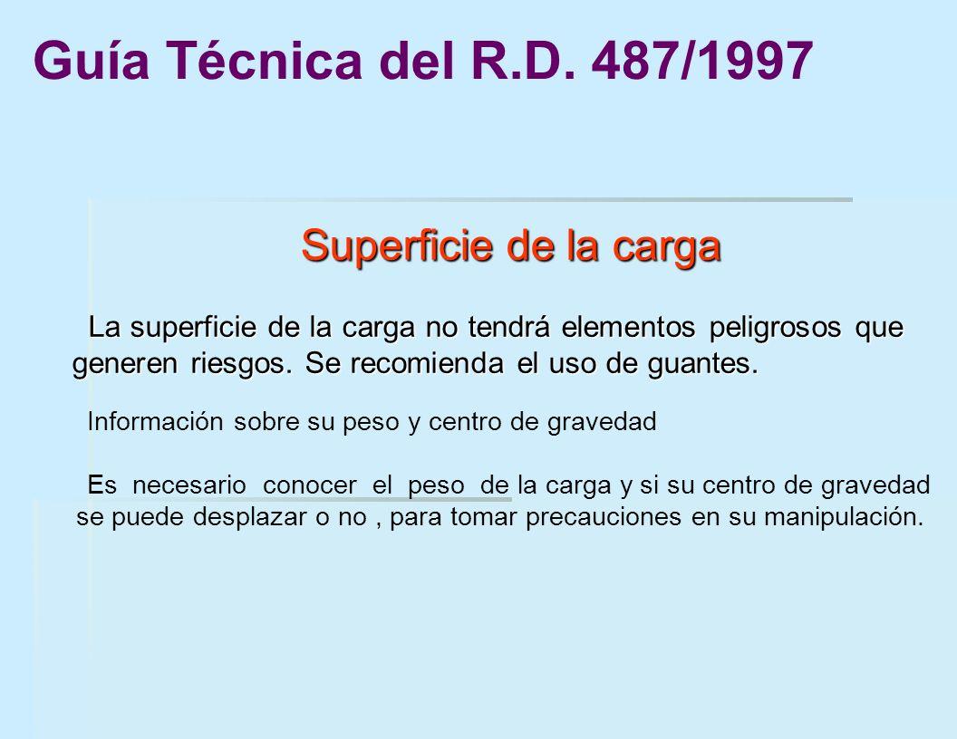 Guía Técnica del R.D. 487/1997 Superficie de la carga