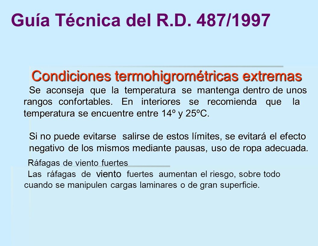 Condiciones termohigrométricas extremas
