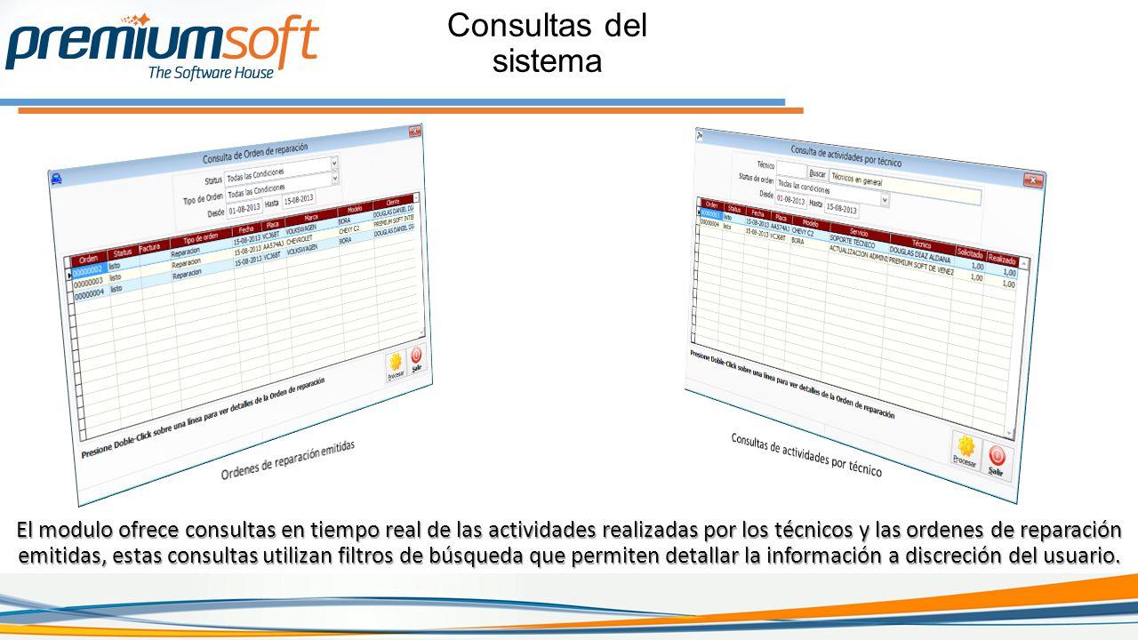 Consultas del sistema Ordenes de reparación emitidas. Consultas de actividades por técnico.