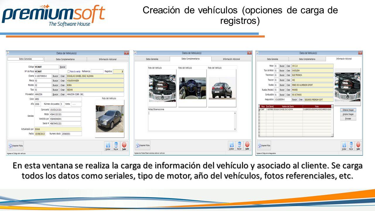 Creación de vehículos (opciones de carga de registros)