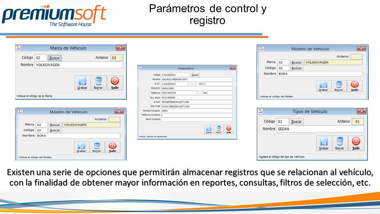 Parámetros de control y registro