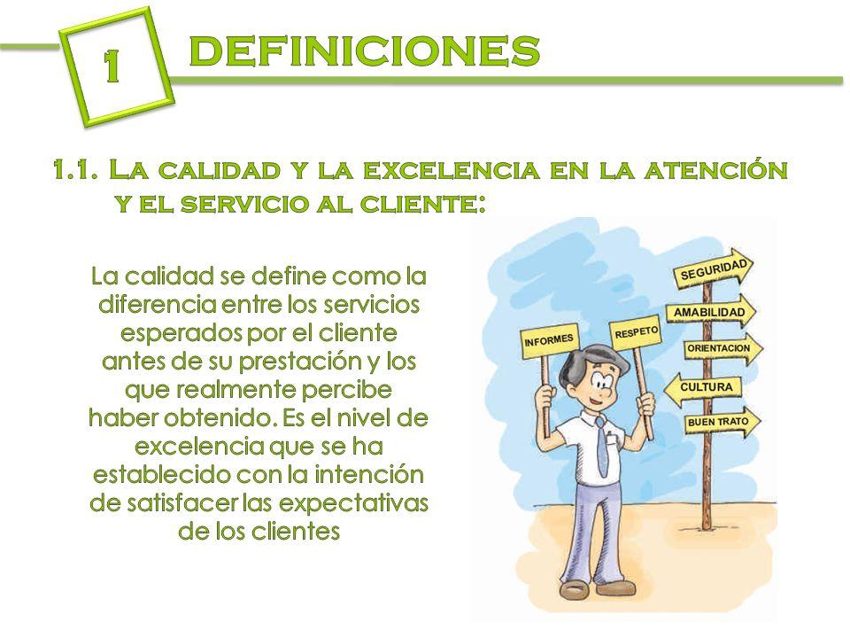 DEFINICIONES 1. 1.1. La calidad y la excelencia en la atención y el servicio al cliente: