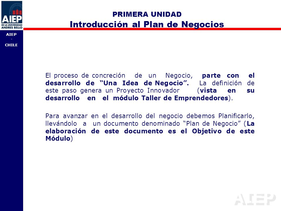 PRIMERA UNIDAD Introducción al Plan de Negocios