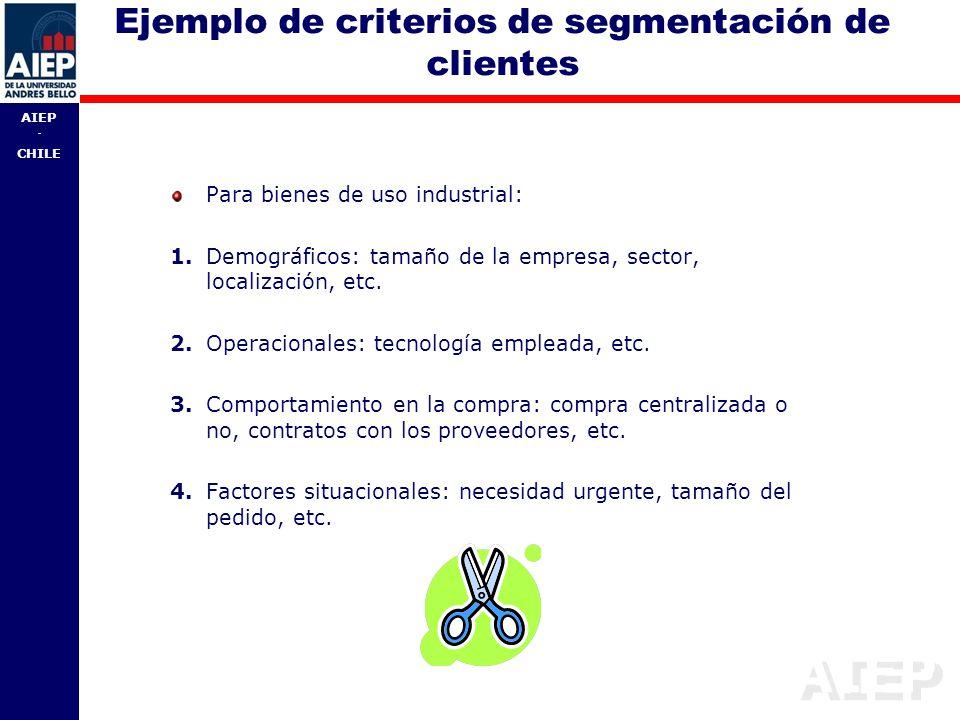 Ejemplo de criterios de segmentación de clientes