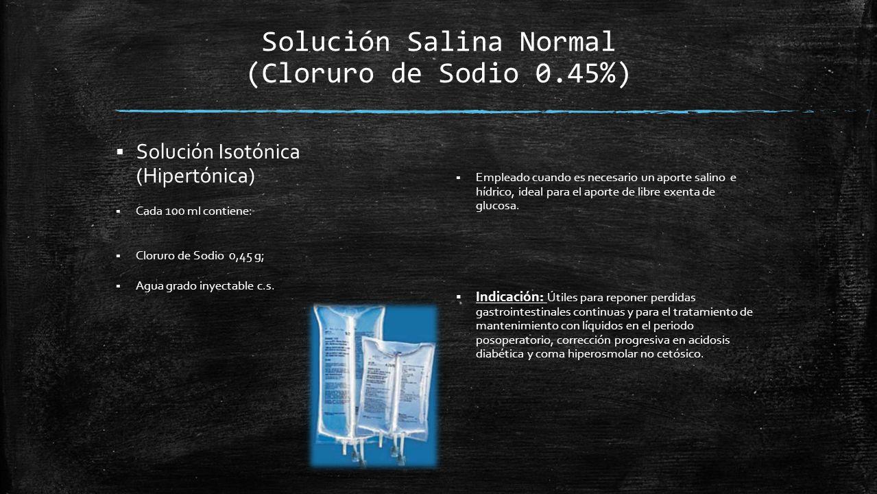 Solución Salina Normal (Cloruro de Sodio 0.45%)