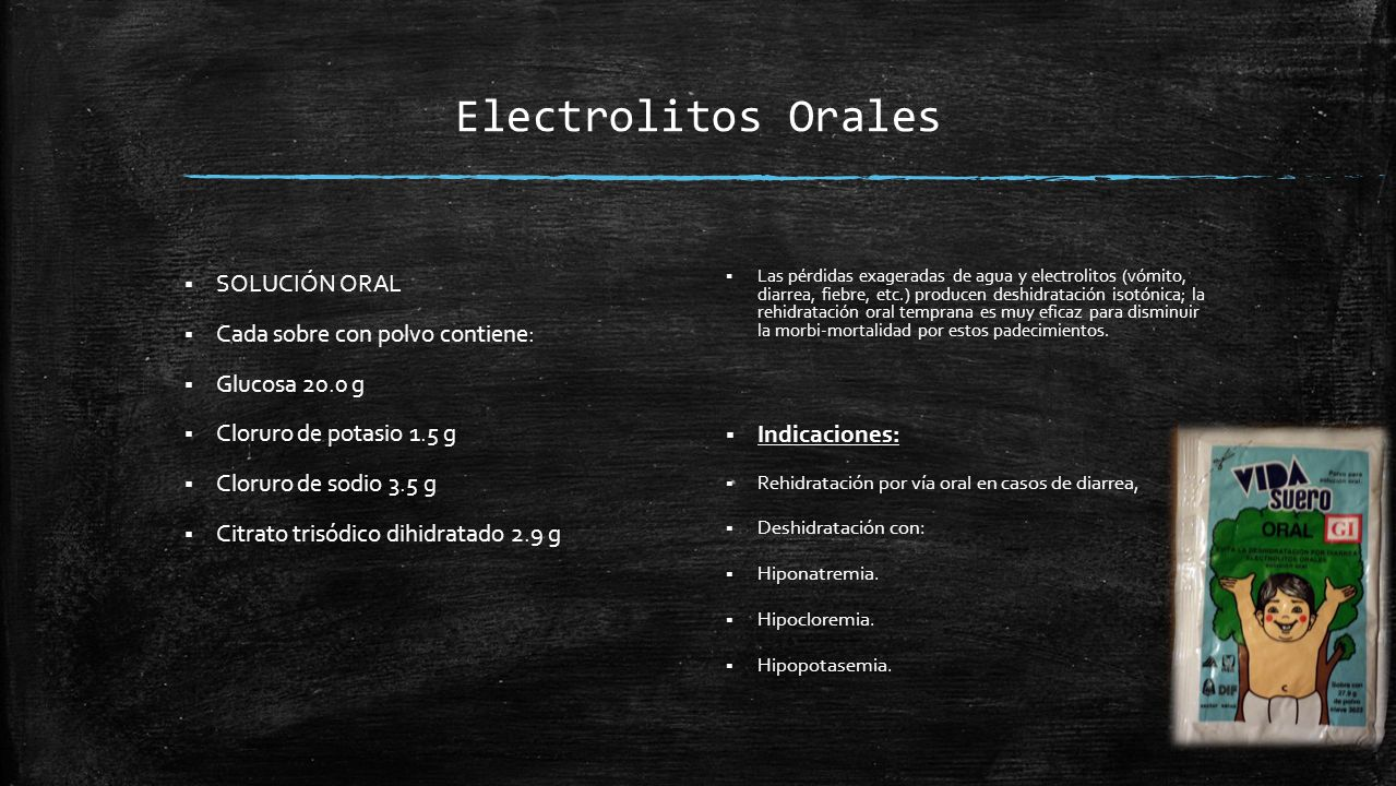 Electrolitos Orales SOLUCIÓN ORAL Cada sobre con polvo contiene: