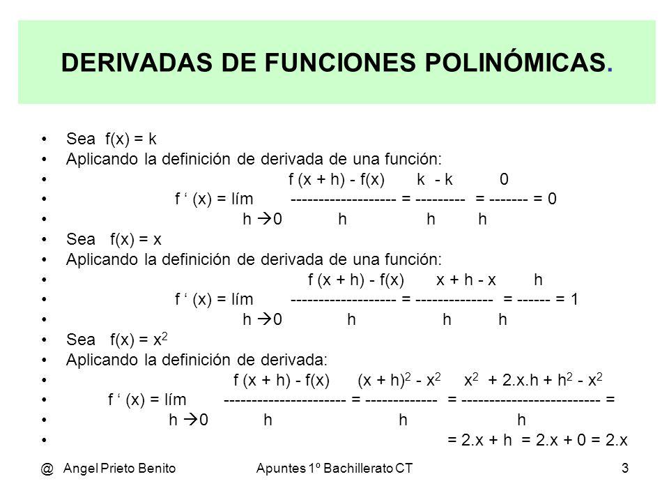 DERIVADAS DE FUNCIONES POLINÓMICAS.