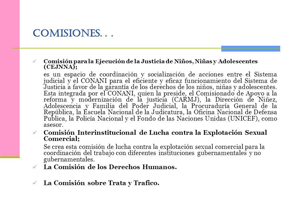Comisiones. . . Comisión para la Ejecución de la Justicia de Niños, Niñas y Adolescentes (CEJNNA);