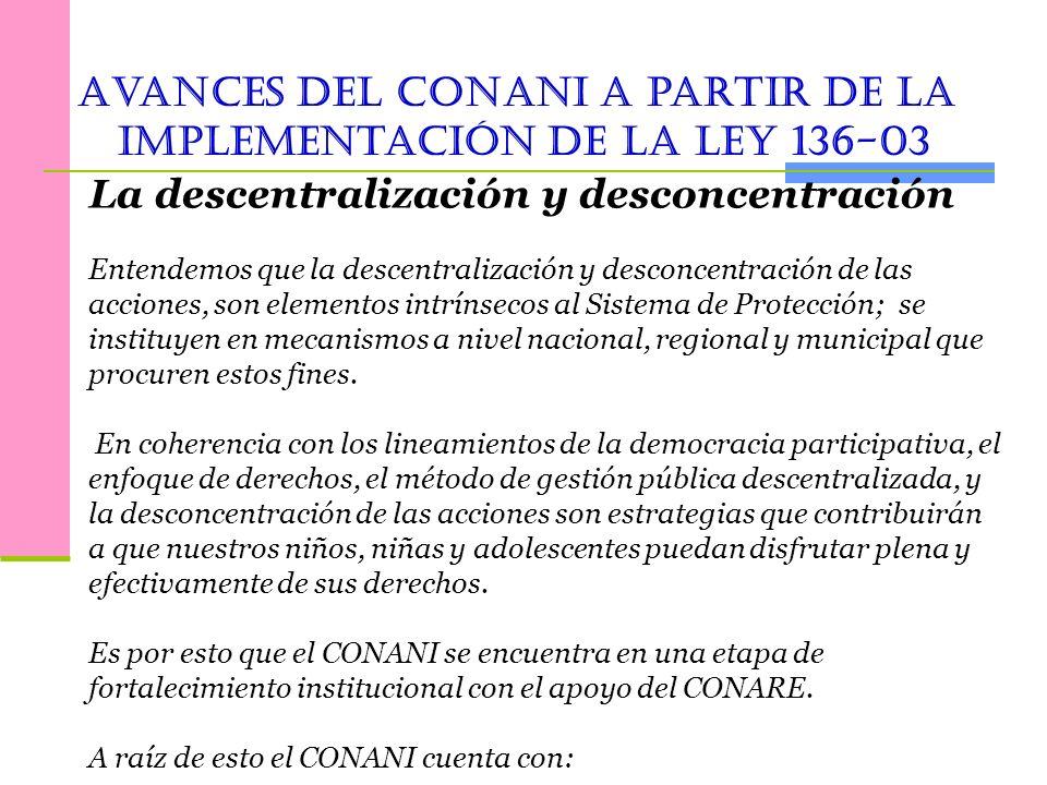 Avances del conani a partir de la implementación de la Ley 136-03
