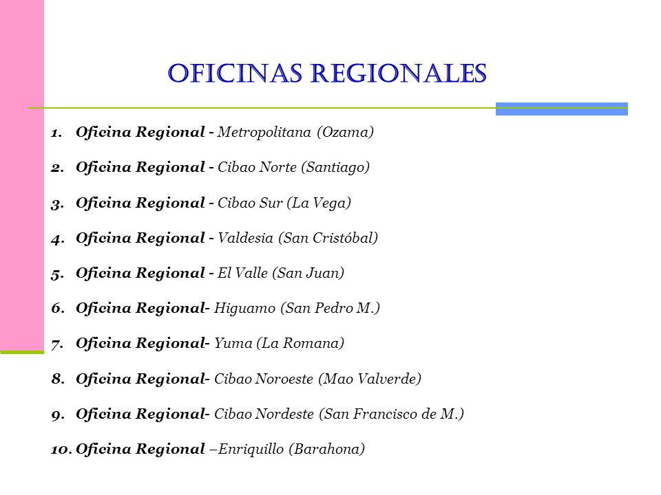 Oficinas Regionales Oficina Regional - Metropolitana (Ozama)
