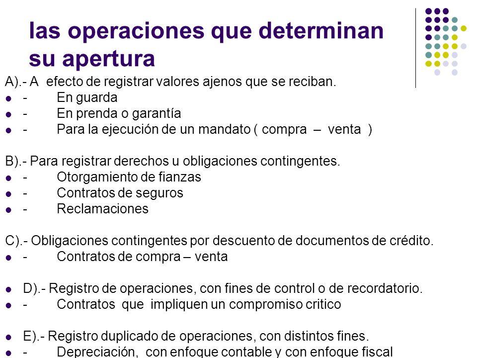 las operaciones que determinan su apertura