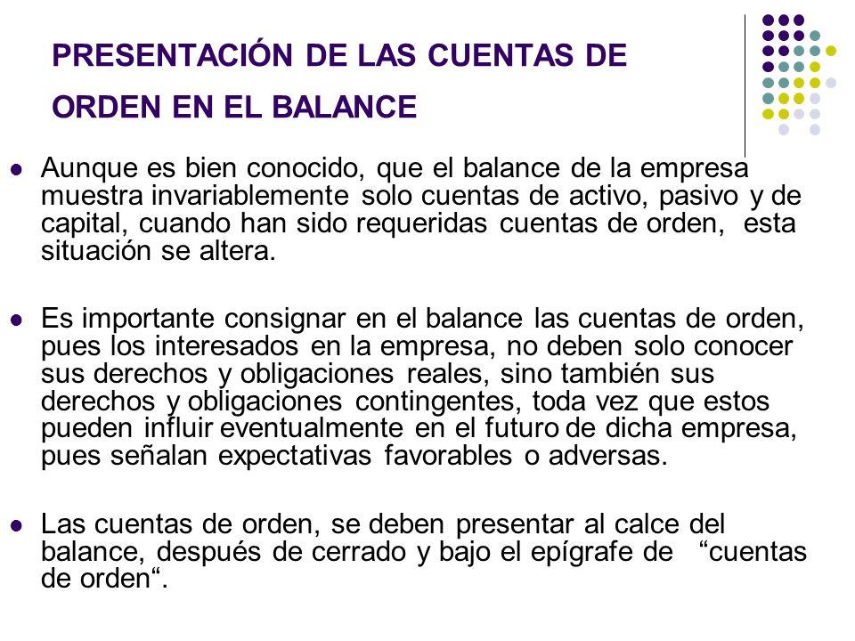 PRESENTACIÓN DE LAS CUENTAS DE ORDEN EN EL BALANCE