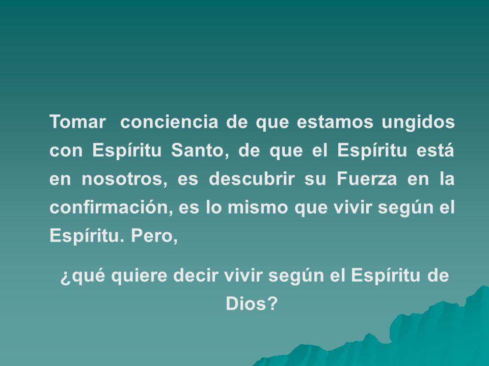 ¿qué quiere decir vivir según el Espíritu de Dios