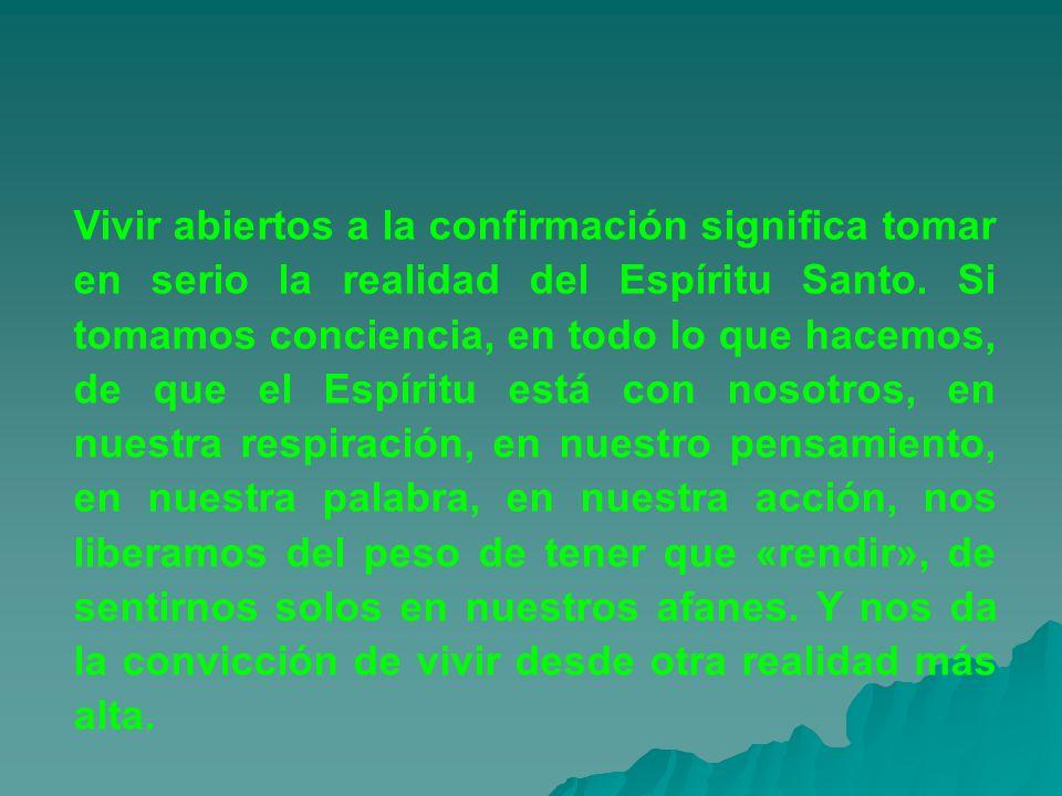 Vivir abiertos a la confirmación significa tomar en serio la realidad del Espíritu Santo.