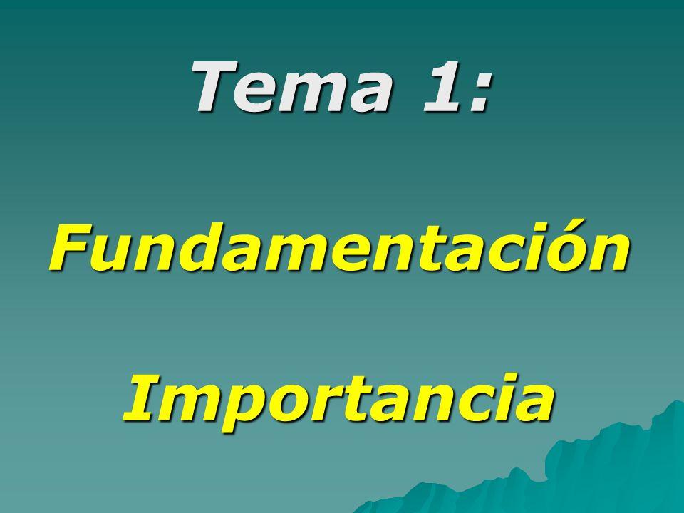 Tema 1: Fundamentación Importancia