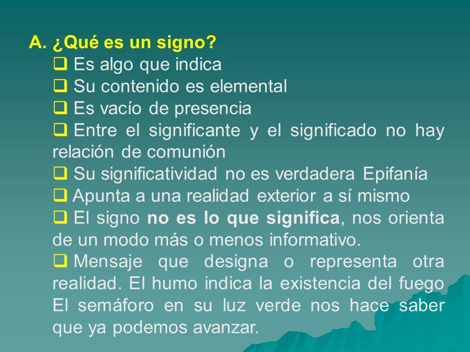 A. ¿Qué es un signo Es algo que indica. Su contenido es elemental. Es vacío de presencia.