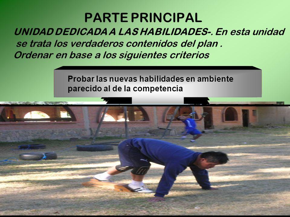 PARTE PRINCIPAL UNIDAD DEDICADA A LAS HABILIDADES-. En esta unidad