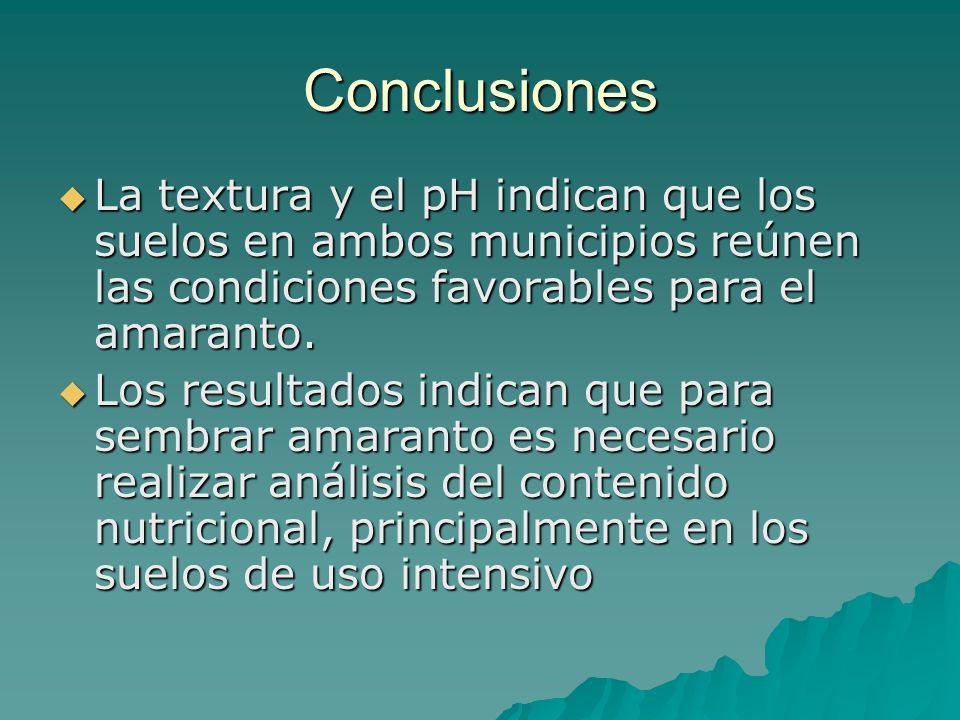 Conclusiones La textura y el pH indican que los suelos en ambos municipios reúnen las condiciones favorables para el amaranto.