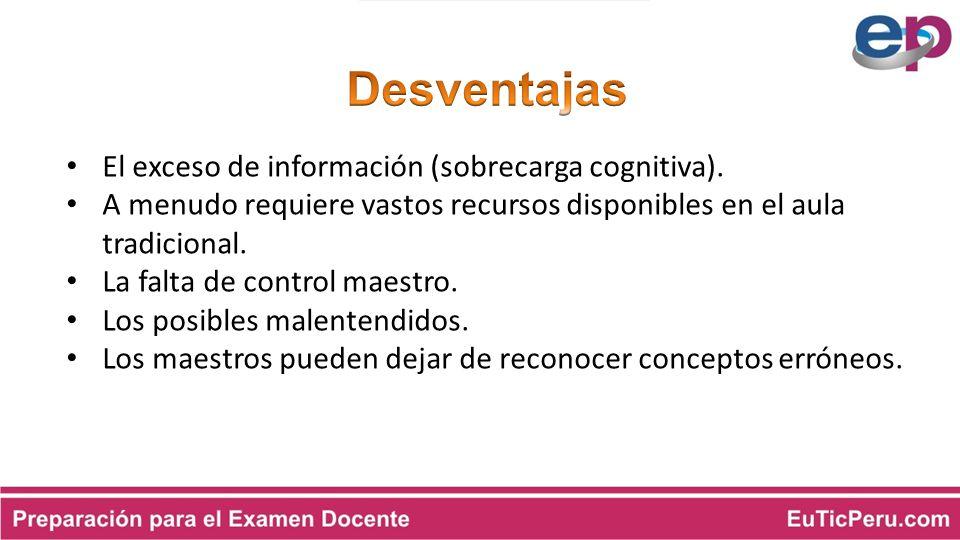 Desventajas El exceso de información (sobrecarga cognitiva).