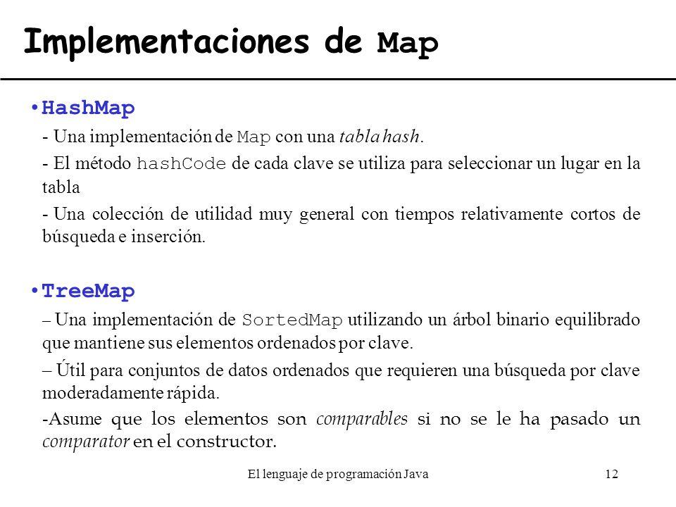El lenguaje de programacin java ppt descargar implementaciones de map urtaz Gallery