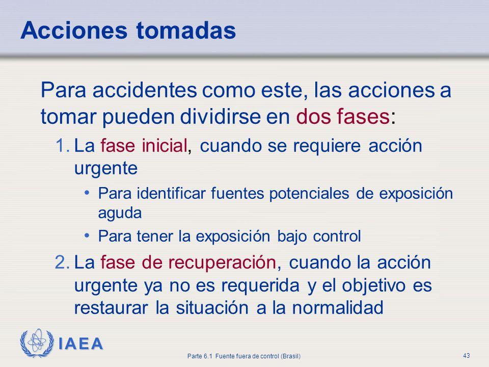 Acciones tomadasPara accidentes como este, las acciones a tomar pueden dividirse en dos fases: La fase inicial, cuando se requiere acción urgente.