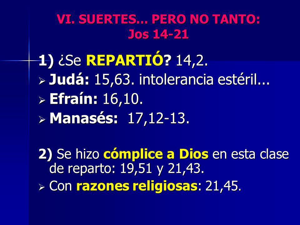 VI. SUERTES... PERO NO TANTO: Jos 14-21