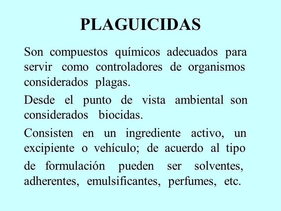 PLAGUICIDAS Son compuestos químicos adecuados para servir como controladores de organismos considerados plagas.