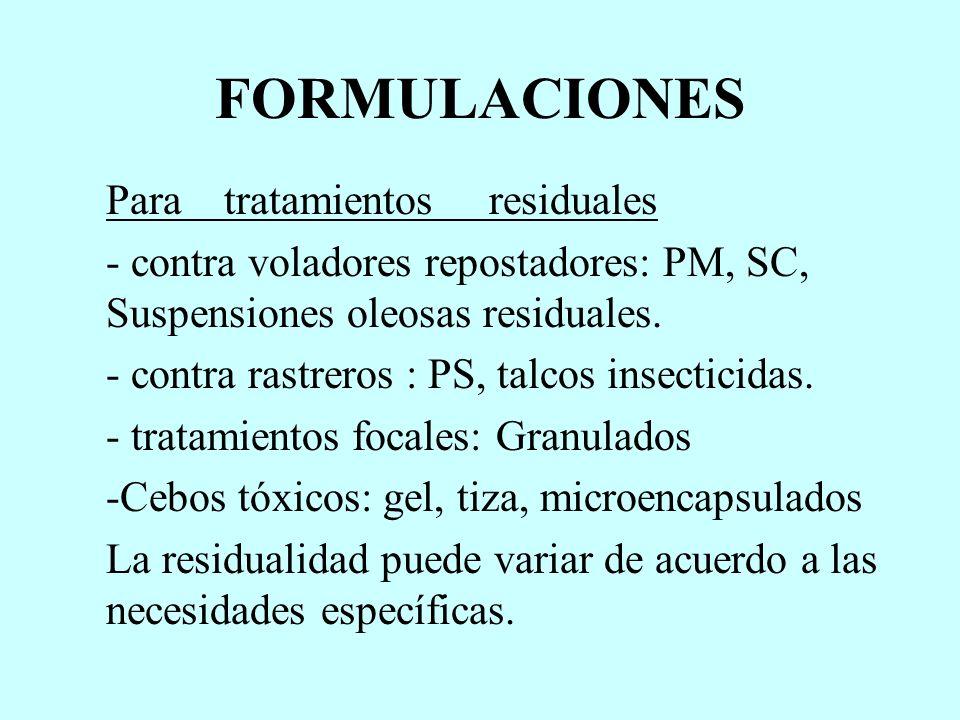 FORMULACIONES Para tratamientos residuales