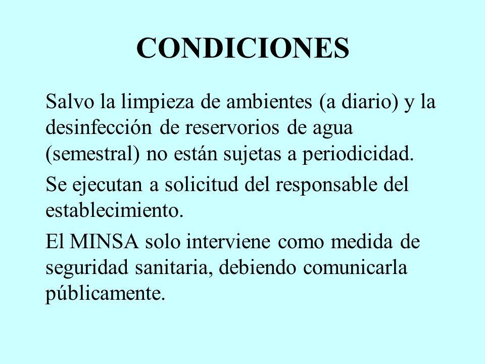CONDICIONES Salvo la limpieza de ambientes (a diario) y la desinfección de reservorios de agua (semestral) no están sujetas a periodicidad.