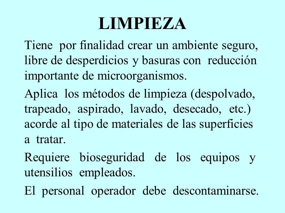 LIMPIEZA Tiene por finalidad crear un ambiente seguro, libre de desperdicios y basuras con reducción importante de microorganismos.