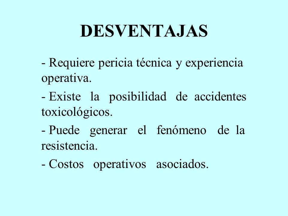 DESVENTAJAS - Requiere pericia técnica y experiencia operativa.