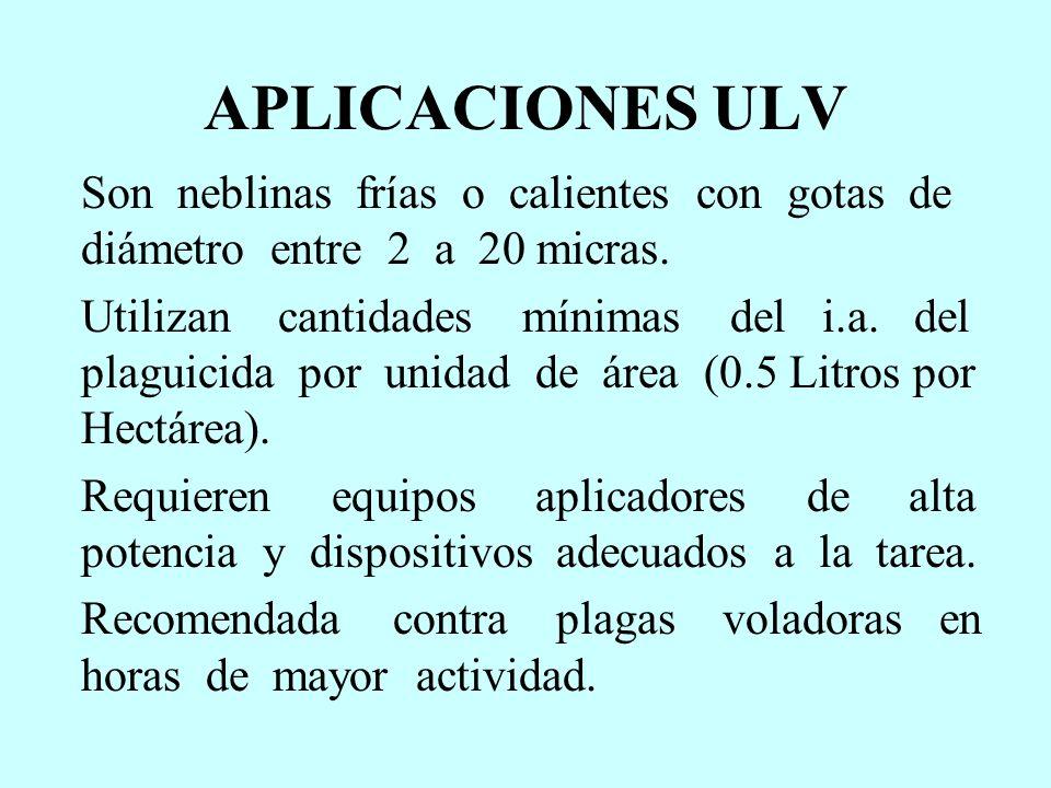 APLICACIONES ULV Son neblinas frías o calientes con gotas de diámetro entre 2 a 20 micras.