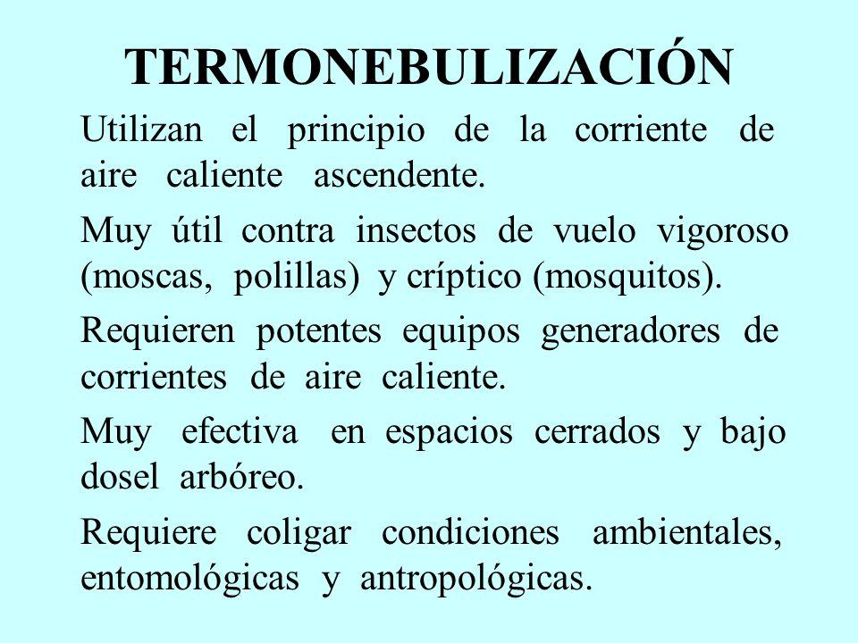 TERMONEBULIZACIÓN Utilizan el principio de la corriente de aire caliente ascendente.