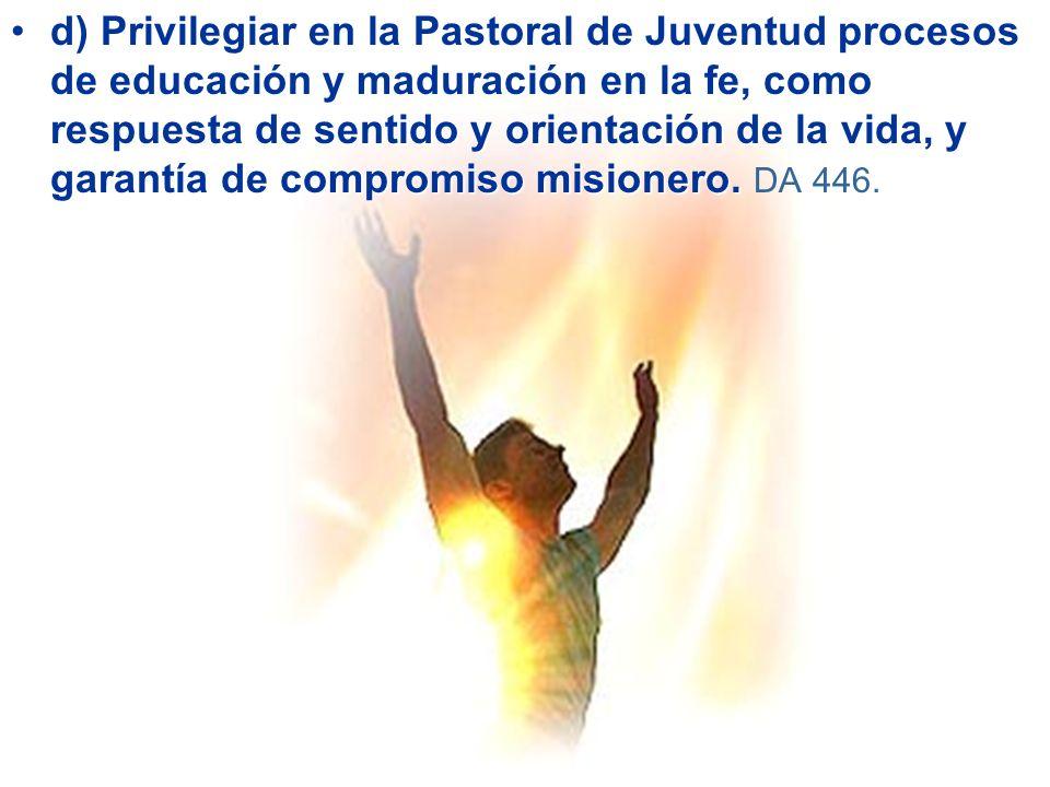 d) Privilegiar en la Pastoral de Juventud procesos de educación y maduración en la fe, como respuesta de sentido y orientación de la vida, y garantía de compromiso misionero.